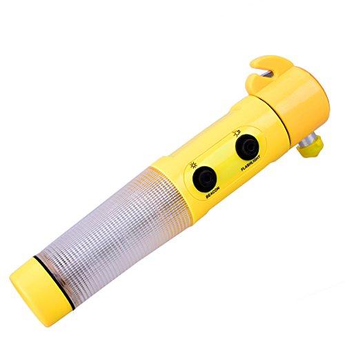 OZUAR 4-in-1 Auto Notfall Hammer Safe Magnetic Multi Funktion mit Sicherheitsgurt Cutter Notfall Beacon Taschenlampe für Flüchten Breaking Smashing Gelb