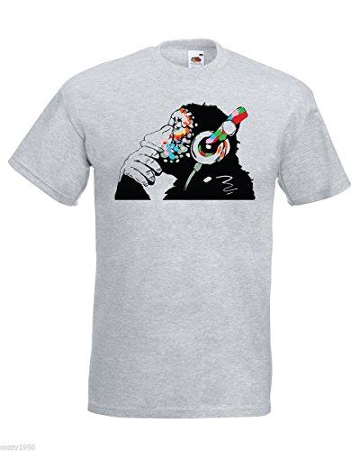 Banksy Affe Mit Kopfhörer Herren T-Shirt / Bunt Schimpanse Kopf zu hören Music Kopfhörer / Street Art Graffiti Hemd + Gratis Aufkleber Geschenk - grau, Medium