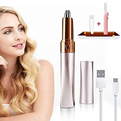 Eyebrow Hair Remover Epilator Rechargeable, Painless Precision Eyebrow Trimmer for Women, Portable Electric Eyebrow Razor Tool for Brow Face Lips Nose Hair Removal