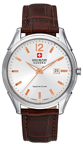 Zwitserse militaire Hanowa zilveren heren kwarts horloge met witte wijzerplaat en bruin lederen band 06-4157.04.001.05
