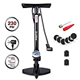 Audew Bike Floor Pump with Gauge - 230Psi Presta/Dunlop and Schrader Dual Valves Bicycle Tire Pump - Steel Structure Floor Pump for Bike, Including Glueless Puncture Kit, Inflating adapters