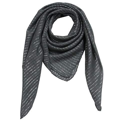 Superfreak Baumwolltuch - grau - dunkelgrau Lurex silber - quadratisches Tuch