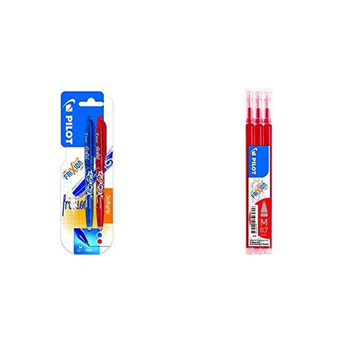 Pilot Spain Frixion Ball Bolígrafo borrable, 2 unidades, color azul y rojo + Set de 3 Recambios para Frixion Ball y Clicker, punto medio Rojo