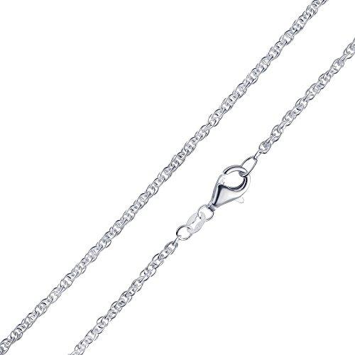MATERIA Doppel Ankerkette Silber 925-2mm Damen Halskette Silber 5,0g in 40 45 50 60 70 cm #K41, Länge Halskette:45 cm