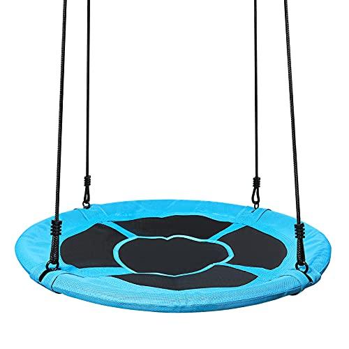 Yorbay Upgrade Balançoire nid d'oiseau pour Enfants Rond Bleu foncé Capacité de Charge 200 kg (Diamètre 100 cm)