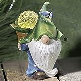 SA Products Gartenzwerg Statue - Niedliche handgefertigte Ornament mit Solar LED Licht in Magic Glow Orb - Dekorative Harzskulptur für Terrasse, Rasen, Teich, Fensterbank - Wetterfest, UV-geschützt