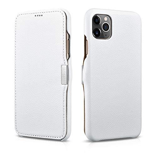 Mobiskin Hülle kompatibel mit Apple iPhone 11 PRO (5,8 Zoll), Handyhülle mit echtem Leder, Case, Schutzhülle, dünne Handy-Tasche, Slim Cover, Weiß
