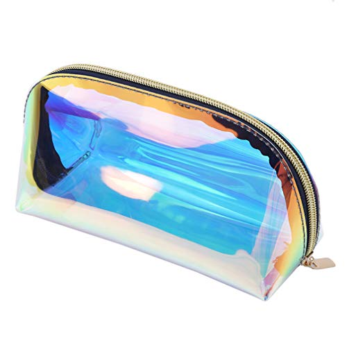 SEVENHOPE Holographic Makeup Bag Clear Cosmetic Bag Organizer Grande Capacité Iridescent Makeup Pouch Clear Toiletry Pouch