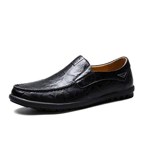 HYF Oxford Schuhe Formelle Schuhe Aus Echtem Leder Leichtes Brautkleid Lässige Vegane Schuhe Rutschfeste Flache Slip-on Runde Zehe Schuhe anziehen (Color : Schwarz, Größe : 40 EU)