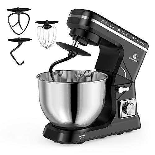 Image of MURENKING Stand Mixer, 5-Qt 6-Speed Dough Mixer, 500W Tilt-Head Kitchen Mixer (Dough Hook and Beater with Teflon, Whisk) (Black): Bestviewsreviews