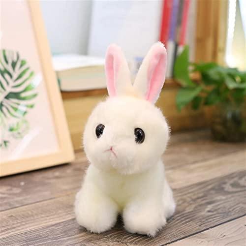 Tengke Simulation Plüschtier Mini kleine Kaninchen Puppe Kinderzimmer dekorative Ornamente Sofa Ornamente Kind Geschenk(weißes Kaninchen,20 cm)
