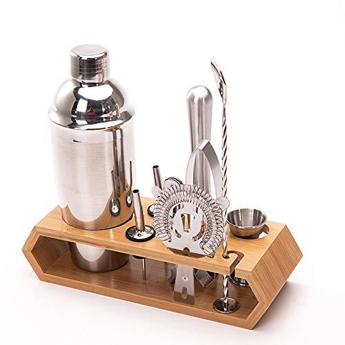 Kuzadan Cocktail Shaker Set,10 pezzi Kit da Barman in Acciaio Inox,Set di strumenti Bar,750ml Shaker con Accessori, supporto Bamboo aggiornato ,Adatto a famiglie, bar, festa