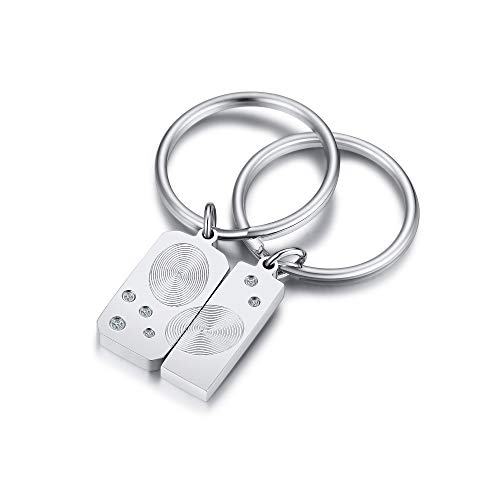 VNOX Personalize Engraving Fingerprint Puzzle Keychain for Couple,Promise Keyrings Couples Keychain Friendship Keychain Rings Key Fob Gifts for Boyfriend Girlfriend Christmas/Birthday Gift