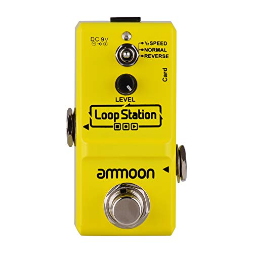 ammoon Pedal Efecto Guitarra Eléctrica Nano Loop True Bypass Looper Ilimitadas 10 Minutos de Grabación con Cable USB(Amarillo)