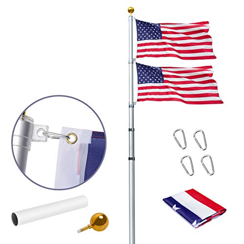 WeValor 30Ft Telescopic Flag Pole Kit, Heavy Duty Aluminum Telescoping Flagpole Fly Two Flags, Outdoor Inground Flag Poles with 3x5 American Flag and Golden Ball Top for Commercial, Residential Use