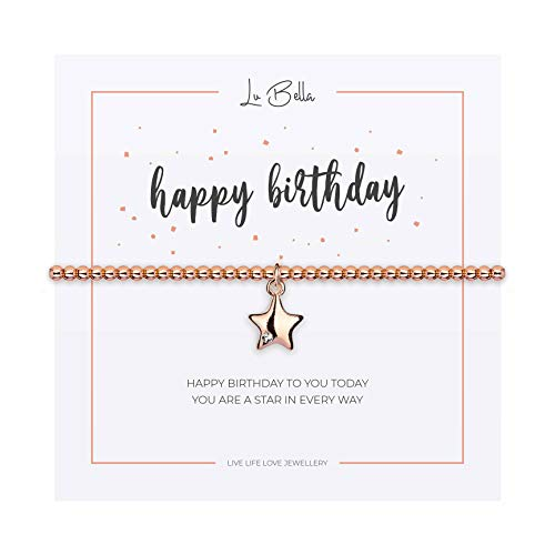 Bracelet For Woman. Adjustable Silver Jewellery with Charm and Gift Bag from Lu Bella (Happy Birthday)
