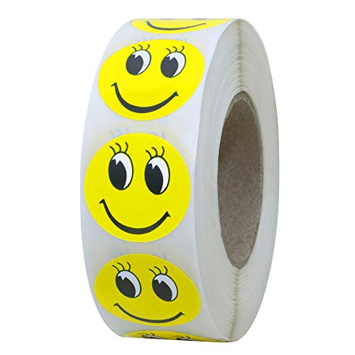 """Hybsk 1"""" Round Yellow Smiley Face with Eyelash Happy Stickers Circle Teacher Labels 1,000 Total per Roll"""