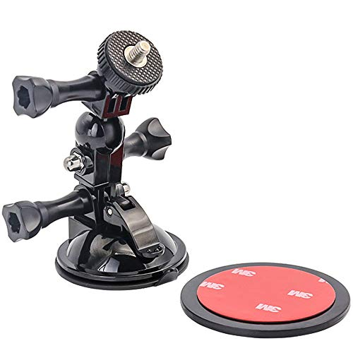 woleyi zuignaphouder voor GoPro Hero 7 6 5 4, Canon, Nikon, Sony en andere camera's (korte arm + lange arm + 1/4-20 adapterdraad + Cuscinetti Adesivi 3m), perfect voor autovoorruit en raam