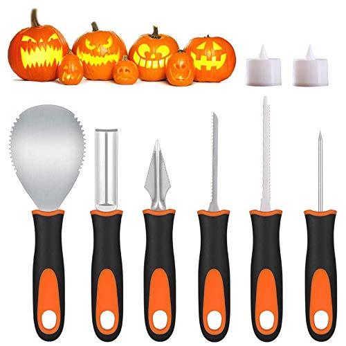 Voneta Halloween Kürbis Schnitzset, 6 Stück Edelstahl Kürbis Schnitzwerkzeuge für Halloween Dekoration