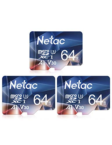 Netac Carte mémoire microSDXC, Lot de 3 64G Haute Vitesse UHS-I Carte Micro SD jusqu'à 100MB/S, A1, U3, C10, V30, 4K, 667X Carte TF pour Drone/Dash Cam/Camera/Phone/Nintendo-Switch/PC/Tablette