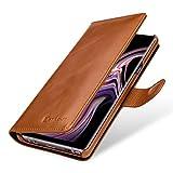 StilGut Talis Lederhülle für Samsung Galaxy Note 9 mit Kreditkarten-Fächern aus echtem Leder. Seitlich aufklappbares Flip Hülle in Brieftaschen-Format, Cognac