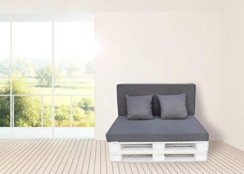 Colchon y Respaldo de Espuma para Sofá de Palet Tejido Dibujo- Jardínes, terrazas, Balcones (Negro)
