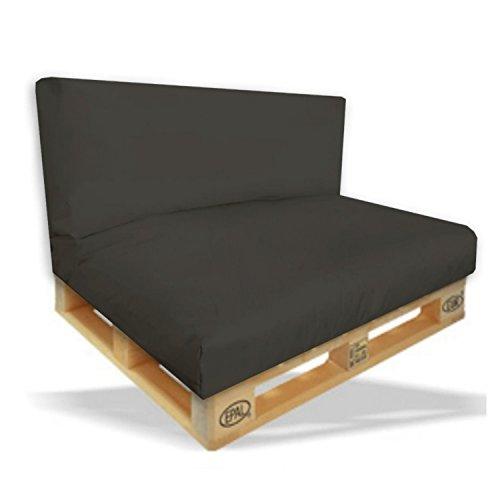 Palettenkissen 2er Set - Sitzpolster 120x80x15cm + Rückenkissen 120x40x10cm Farbe Schwarz - In & Outdoor - Palettenpolster - Paletten Rattanmöbel Polster