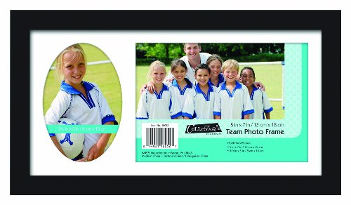 MCS 12.5x7.25 Inch Team Frame with 2 Photo Openings, 5x7 Inch and 3.5x5 Inch, Black (16052)