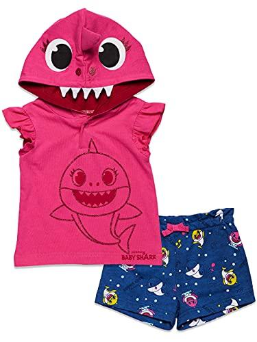 Pinkfong Conjunto de moletom com capuz de manga curta e shorts atoalhados franceses, rosa, 4T
