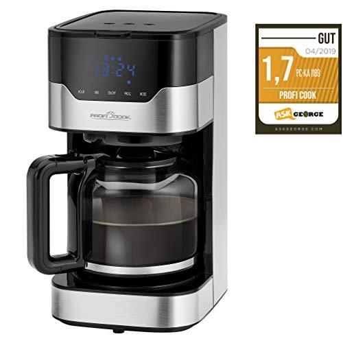 ProfiCook PC-KA 1169 Kaffeeautomat, elektronische Aromawahlfunktion, Sensor Touch-Bedienung / Touchscreen, 24 Stunden-LED-Digital-Zeitschaltuhr, 1.5 Liter, Edelstahl / Schwarz