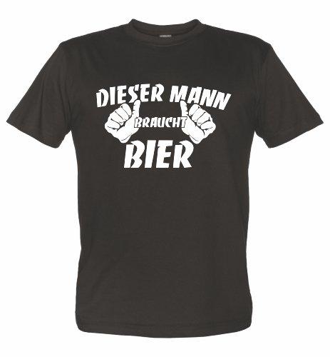 Fun T-Shirt mit lustigem Motiv Dieser Mann BRAUCHT Bier schwarz XXL