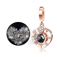 ♥ Superior Quality ♥ Authentic 925 Sterling Silver & 5A+ Cubic Zirconia & White Gold / Rose Gold Plated. Passed SGS Inspection Standard, not harmful for your health. ♥ Features ♥ I love you 100 language projection dangle charm, Illuminating the penda...