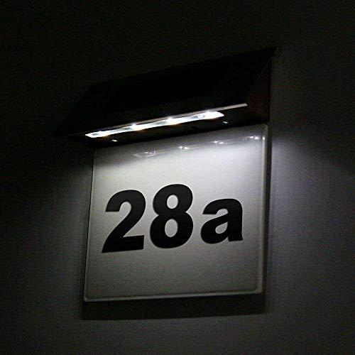 EATYNEN Solar Hausnummernleuchte Edelstahl LED Licht mit Zahlen Buchstaben Licht Sensor Hausnummer Beleuchtet Solar Adressschilder Solar Leuchte Für das Haus Straße Briefkasten Draussen