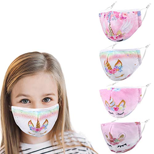 Unicorn Washable Kids Face Mask, Cute Reusable Adjustable Designer Breathable for Boy Gift