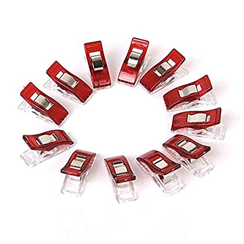 Swity Home 100 Pack Mini Wonder Multi-Purpose Clips Use as Sewing Clips Binding Clips for Quilting, Crocheting, Knitting and General Purpose (Red)