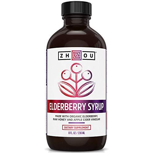 Zhou Nutrition Elderberry Syrup - Organic Sambus Black Elderberry, Raw Honey, Apple Cider Vinegar & Propolis - Immune System Booster During Cold Winter Months