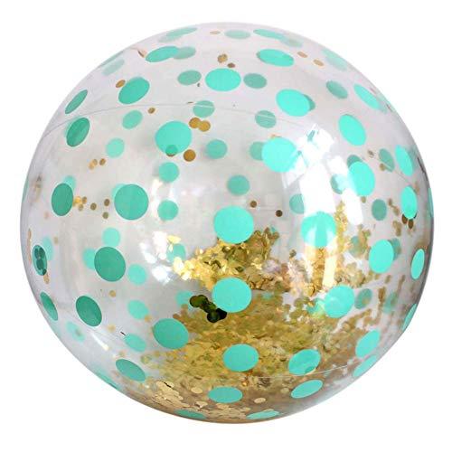 ningxiao586 Glitzer Konfetti Strandballons Aufblasbare Transparente Paillettenkugel Sommer Wasser Spielball Poolball Mitbringsel für Kinder Erwachsene, 83cm
