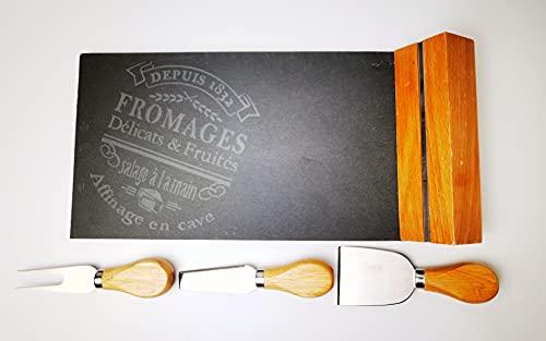 Juego de pizarra con cuchillos para queso de acero inoxidable y mango de madera - Juego de queso de alta calidad con tabla, aperitivo, finger food, etc. - Entrega en embalaje de regalo