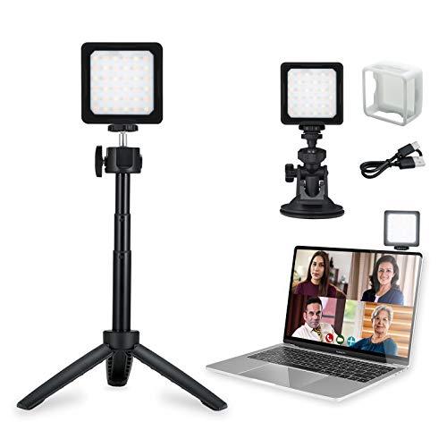 Flashoot CL-36 Kit de luz para videoconferencia, luz LED 2800K-5000K CRI 95+ con difusor Compatible con computadora MacBook Tablet para videoconferencia Llamada con Zoom Trabajo Remoto Vlog Yutube