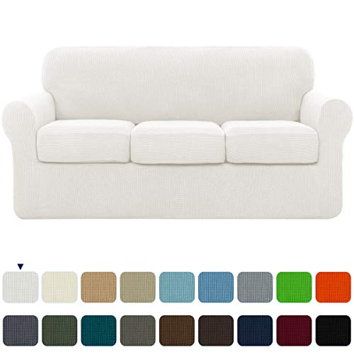 subrtex High Stretch Jacquard Slipcover with 3 Separate Cushion Common Couch Sofa Cover Coat for...