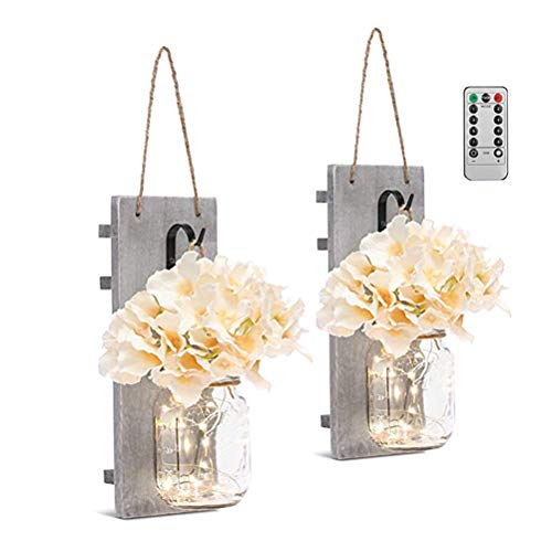 Kampre Mason Jar Sconces Hängeleuchter Home Decor Lights Wanddekoration mit Einweckgläser, LED Lichterketten, Hortensie, Holz für Wohnzimmer, Schlafzimmer