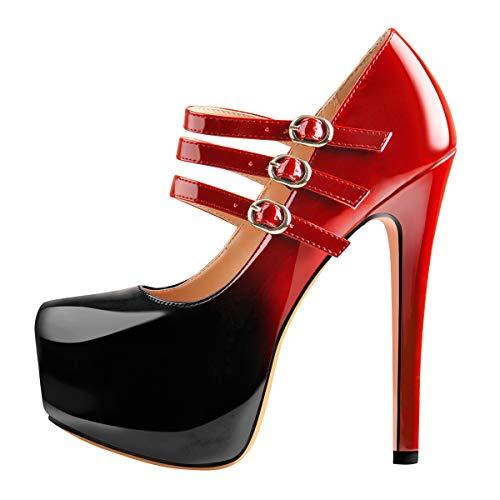 Only maker Damen Plateau Mary Jane mit Stiletto Absatz Klassische Pumps High Heel Zweifarbig Lackleder Schwarz Rot 44 EU