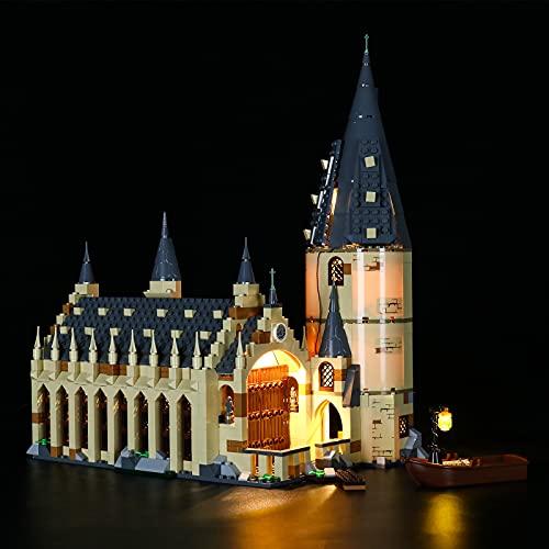 BRIKSMAX Kit de iluminación LED con Control Remoto de Sonido multifunción para Lego Harry Potter Gran Comedor de Hogwarts, Compatible con Lego 75954 - No Incluye el Set Lego