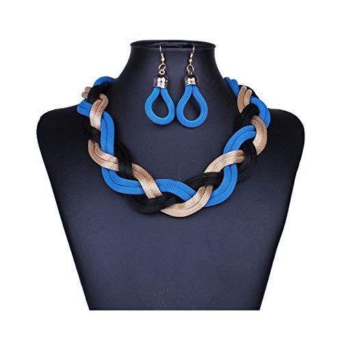 THTHTHT Modieuze halsketting van metaal, oorbellen voor dames, slang, meerlaags, wapening, eenvoudig, klassiek, creatief, leuk cadeau Blue Yellow Black
