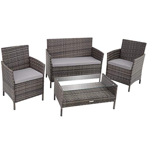TecTake 800894 Rattan garden furniture set with coffee table, sofa and 2 chairs + seat cushions ideal for a balcony, patio, terrace or garden (Grey)