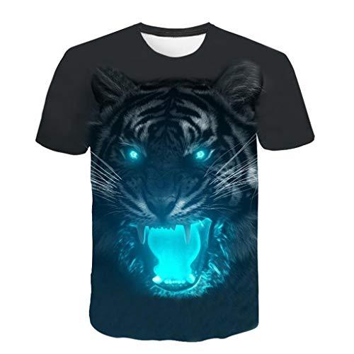 Battnot Herren T Shirt Schwarz Modern Cool 3D Heulender Tiger Druck Mens Oversize Rundhalsausschnitt Printed Kurzarm T-Shirt Männer Basic Slim Fit Qualität Top Große Größen Bluse Hemd 3XL XXXL