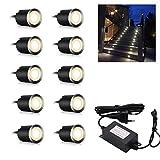 Arotelicht Lot de 10 Spots LED Encastrable IP65 Etanche 3000K Blanc Chaud Spots à Encastrer pour Terrasse Bois Plafond 0,6 W Ø32 mm LED spot encastré