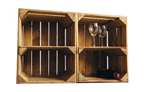 Vintage / used Holzkisten Apfelkisten Obstkisten mit Zwischenbrett quer 50x40x30cm | Ideal als Garagenregal rustikal Wandregal Aufbewahrungsbehälter Aufbewahrungsbox Holzregal Shabby Chic (2er)