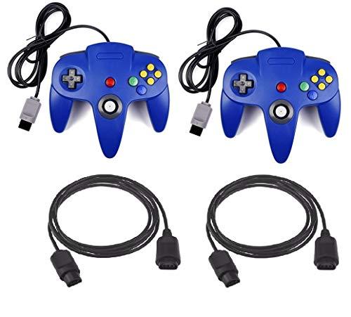 DARLINGTON & Sohns 2 Blaue Controller für Nintendo 64 N64 Joystick Blau Gamepad Joypad + Verlängerung Extansion Verlängerungskabel Gamepad