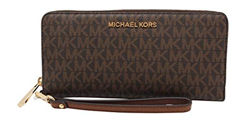 Michael Kors Women Jet Set Travel Large Travel Continental Wristlet Wallet Brown